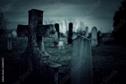 Stickers pour portes Cimetiere Cemetery night
