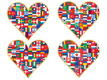 Set Of Valentines Made Of Flag...