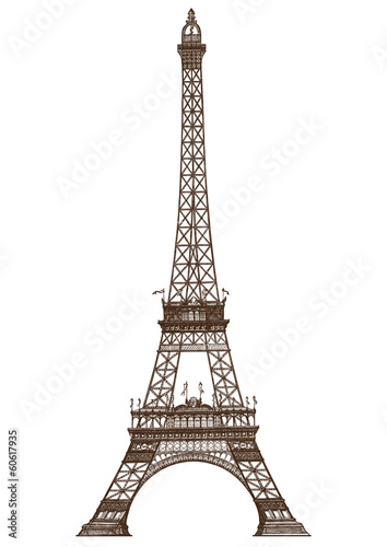 Foto op Aluminium Eiffeltoren detailed illustration of the Eiffel Tower, Paris