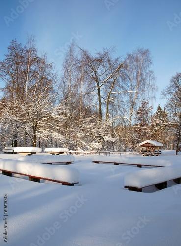 Autocollant pour porte Reflexion Sitzbänke in Winterlandschaft schneebedeckt