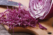 Chopped Red Cabbage Close-up On Kitchen Board