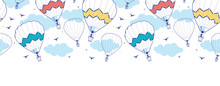 Vector Colorful Hot Air Balloons Horizontal Border Seamless