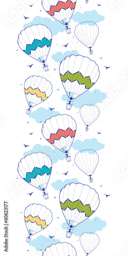 Vector colorful hot air balloons vertical border seamless