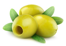 Isolated Olives. Three Pitted Green Olive Fruits With Leaves Isolated On White Background