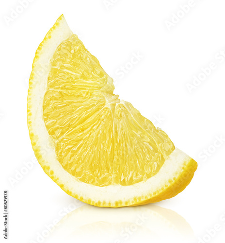 Fotografía  Slice of lemon fruit isolated on white background