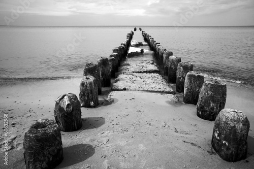 breakwater on the Baltic beach, Poland.