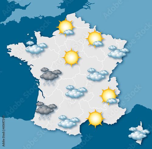Obraz na plátně  Carte de prévision météo vectorielle 1
