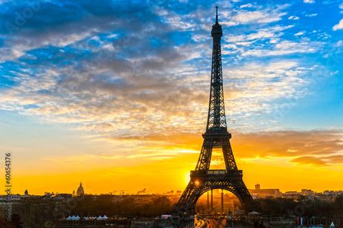Poster Tour Eiffel Eiffel tower at sunrise, Paris.