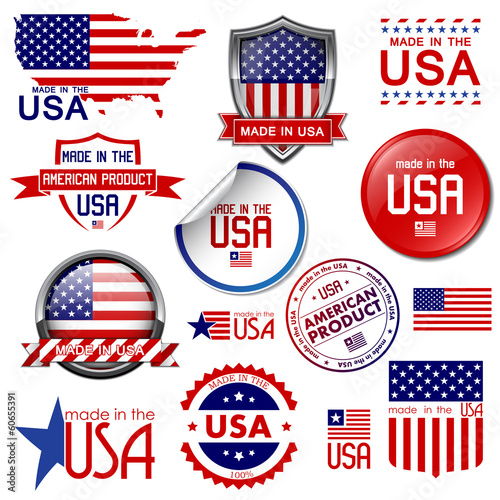 Made in the USA. Set of vector graphic icons and labels Poster