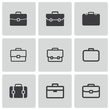 Vector Black Briefcase Icons Set
