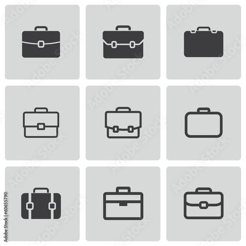 Vector black briefcase icons set Canvas Print