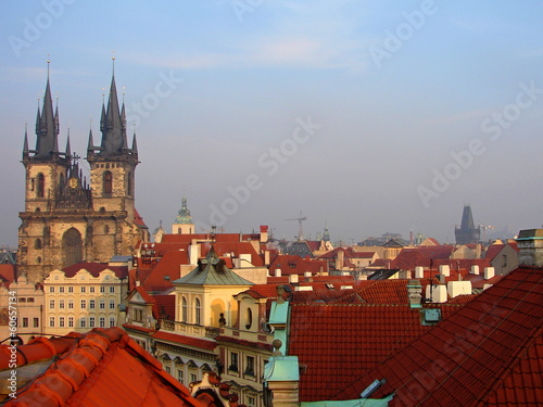 Poster Prague Prague red roofs and Old Town Square