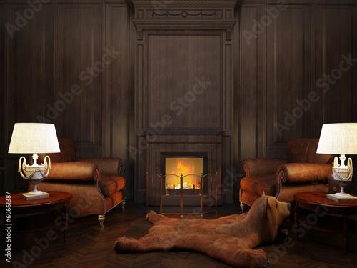 Foto op Plexiglas Wand chimney-corner