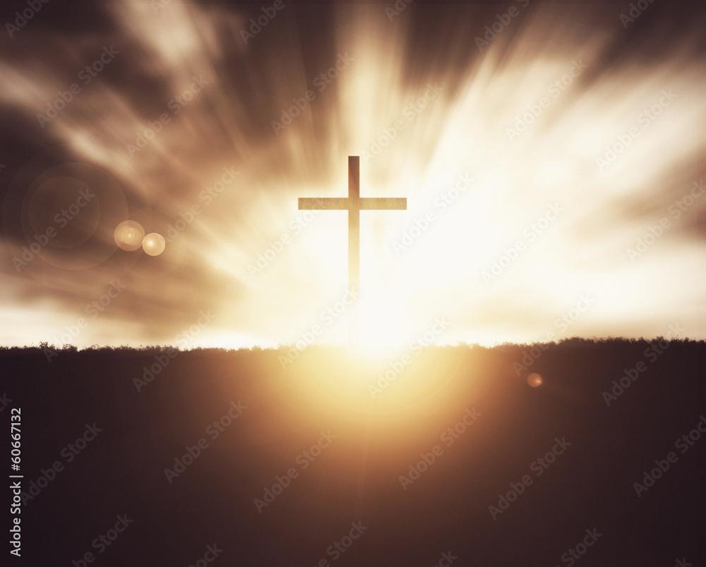 Fototapety, obrazy: Cross at sunset.