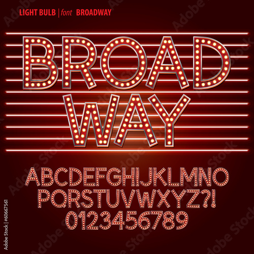 Fotomural  Red Broadway Light Bulb Alpahbet and Digit Vector
