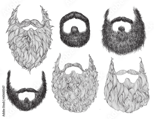 Fotografie, Obraz  Hand Drawn Beard Set