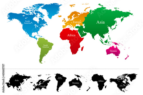 Photo  World map with colorful continents Atlas - Vector