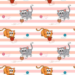 Seamless design with cats playing