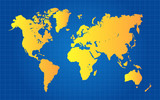 Gold World Map On Blue Grid Gradient Background