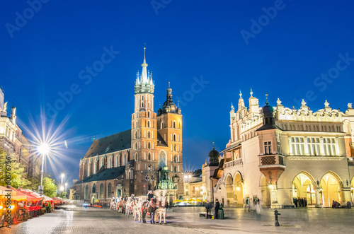Poster Cracovie Rynek Glowny - The main square of Krakow in Poland