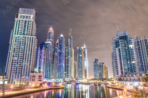 Dubai Marina skyline by night
