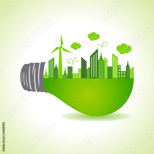Fotografie, Obraz  Eco cityscape on light bulb stock vector
