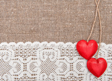 Valentine Card With Wooden Hearts And Lacy Cloth