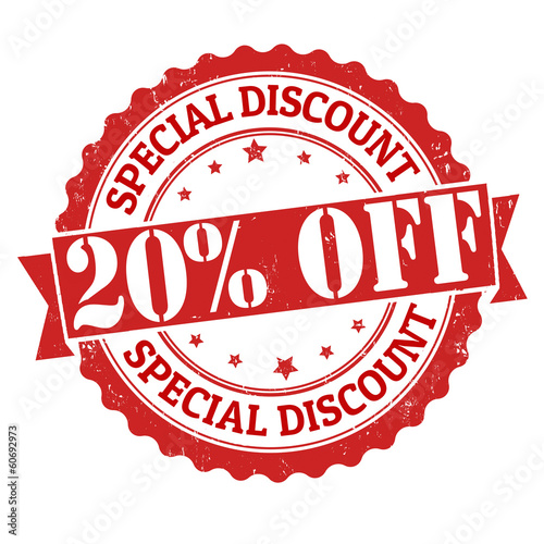 Photo  Special discount 20% off stamp