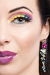 brunette model portrait,colorful make-up