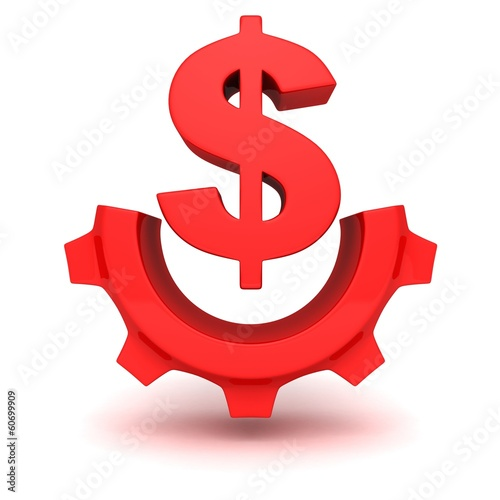 Spoed Foto op Canvas Canada concept red dollar currency symbol work gear icon