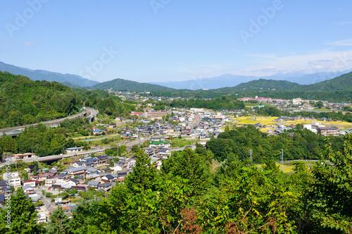 Foto op Plexiglas Groene Landscape of Achi village in Southern Nagano, Japan