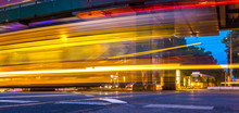 Moving Tram In The Evening In ...