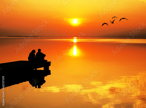 Foto auf AluDibond Pier romance en el mar