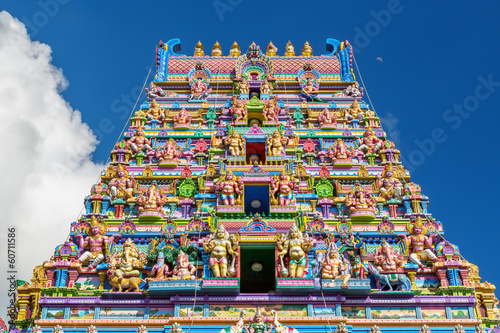 Facade of a Hindu temple in Victoria, Seychelles Canvas-taulu