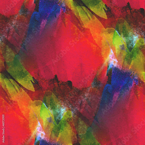 Fototapety, obrazy: background seamless watercolor texture red, yellow, green abstra