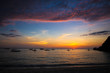 Colorful bright sunset on the island Boracay, Philippines