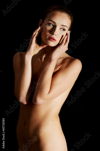Topless sensual caucasian woman.