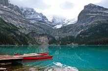Red Canoes At Lake O'Hara, Yoho National Park, Canada