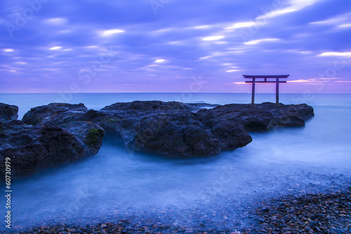 Foto op Aluminium Japan Kamiiso-no-Torii at daybreak, Ibaragi, Japan