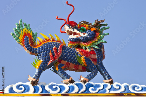 Colorful Chinese dragon-headed unicorn, kilen, kylin, kirin obov