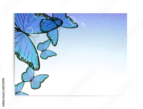 Poster Abstract bloemen Vector flyer design with butterfly
