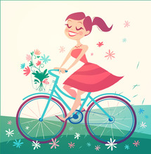 Girl Is Riding Bike On Spring Field. Vector Illustration.