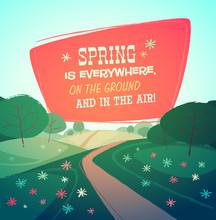 Spring Landscape. Vector Illustration.
