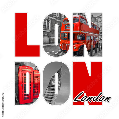Poster de jardin Londres bus rouge London isolated on white