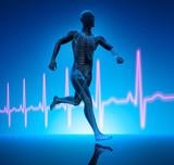 Laufender Athlet mit Kardiogramm