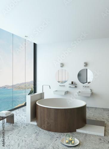 Tablou Canvas Design bathroom interior with modern round wooden bathtub