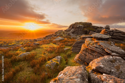 Sunset from King's tor Dartmoor Devon Uk Wallpaper Mural