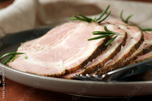 Poster Fish roasted pork neck with black pepper and herbs