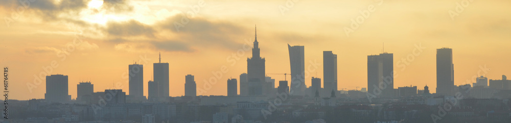 Fototapety, obrazy: Warsaw sunset panorama
