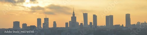 Warsaw sunset panorama